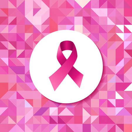 Breast cancer awareness campaign pink ribbon badge over seamless triangle retro hipster tiled pattern. EPS10 vector file.