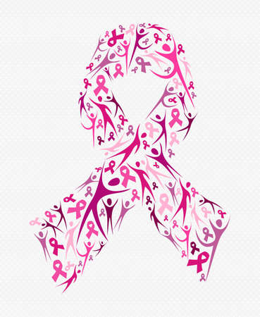 Pink people silhouettes forming ribbon shape for breast cancer awareness. Social support concept illustration. EPS10 vector.