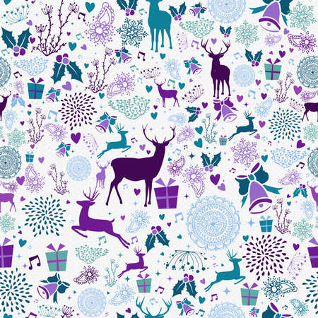 Merry christmas seamless pattern hipster reindeer and vintage holiday elements. EPS10 vector.