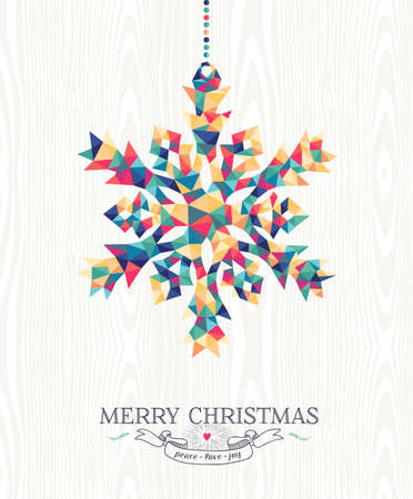 Illustration pour Merry Christmas trendy hipster snowflake made with colorful geometry triangles on wood background. Ideal for holiday greeting card, xmas poster or web template. EPS10 vector. - image libre de droit