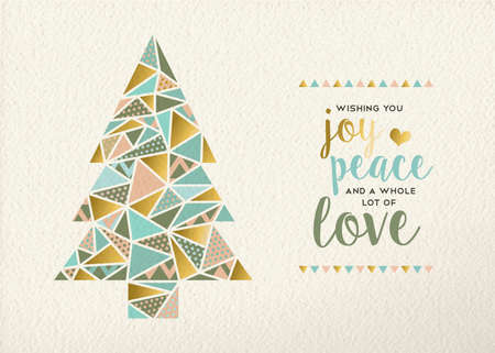 Illustration for Merry christmas Happy new year triangle pine tree design in retro geometry style with gold and pastel color on texture background. Ideal for xmas greeting card or holiday event. EPS10 vector. - Royalty Free Image