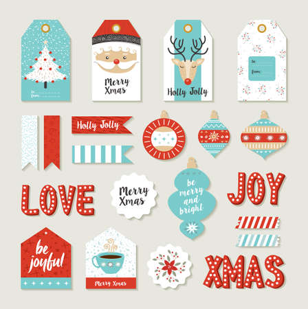 Merry christmas scrapbook set of printable DIY tags, signs and banners for holiday gifts or xmas decoration.
