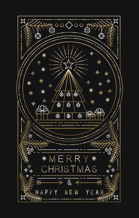 Illustration pour Merry Christmas Happy New Year design with xmas tree, gifts and decoration in simple gold outline style. Ideal for holiday greeting card, poster or web. EPS10 vector. - image libre de droit