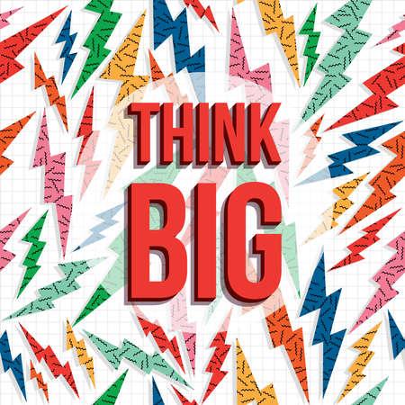 Illustration pour Think big inspiration quote, creative imagination motivation text with retro 80s background. - image libre de droit