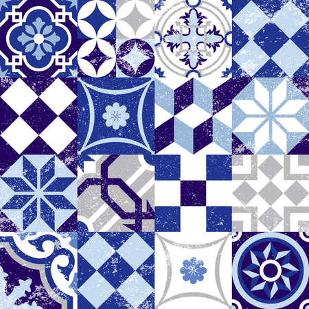 Illustration for Vintage patchwork seamless pattern background with traditional blue tile decoration, classic mosaic style. EPS10 vector. - Royalty Free Image