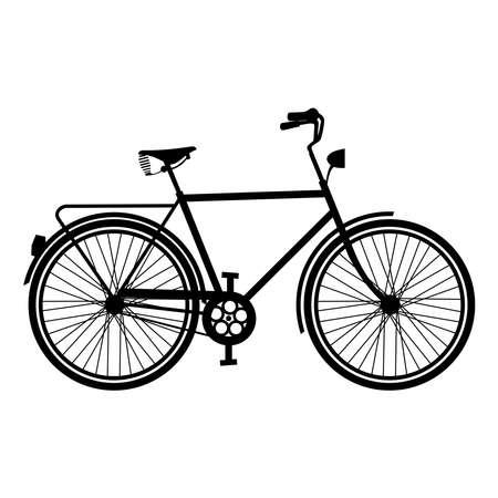 Illustration pour Retro bike silhouette concept, isolated bicycle outline on white background. EPS10 vector. - image libre de droit