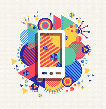 Illustration pour Mobile cell phone icon app poster illustration with colorful vibrant geometry shapes background. Social media concept. - image libre de droit