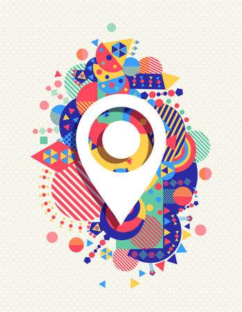 Illustration pour Gps pointer map icon poster design with colorful vibrant geometry shapes background. Social media concept.  - image libre de droit