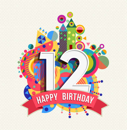 Ilustración de Happy Birthday twelve 12 year, fun celebration greeting card with number, text label and colorful geometry design.  - Imagen libre de derechos