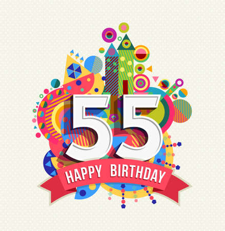 Illustration for Happy Birthday fifty five 55 year, fun celebration greeting card with number, text label and colorful geometry design. - Royalty Free Image