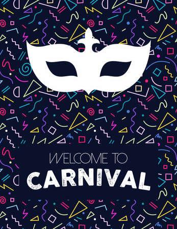 Illustration pour Colorful retro line art background with carnival mask silhouette and text label. - image libre de droit