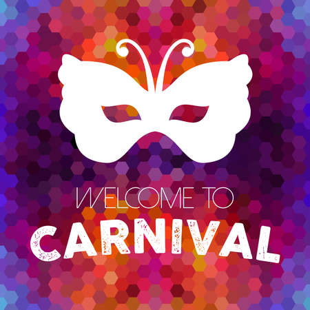 Illustration pour Welcome to carnival design, vintage butterfly mask on colorful honeycomb background. - image libre de droit