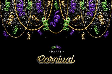 Illustration pour Colorful carnival background decoration with text label and party masks. EPS10 vector. - image libre de droit