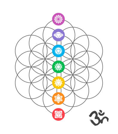 Illustration pour Colorful icons, main chakras on flower of life. Sacred geometry illustration with handmade om calligraphy decoration. - image libre de droit