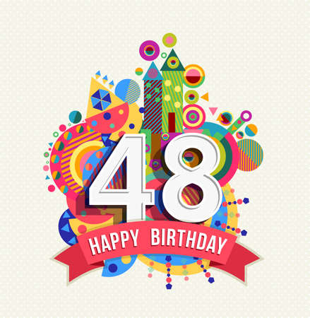 Happy Birthday forty eight 48 year, fun celebration anniversary greeting card with number.