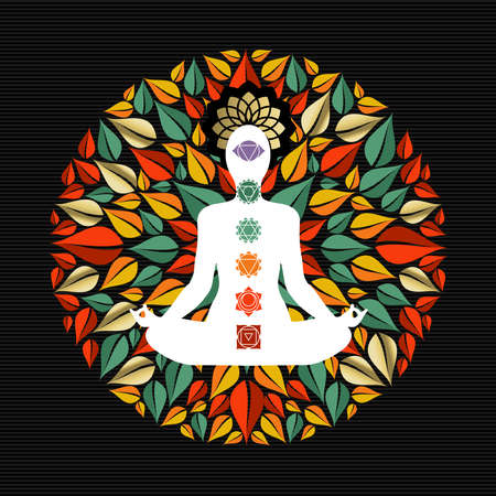 Illustration pour Mandala made of tree leaves with body silhouette doing yoga lotus pose and chakra icons. - image libre de droit