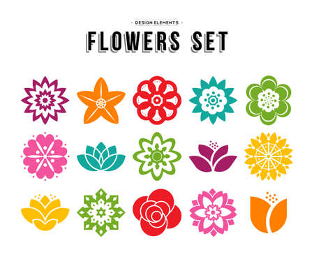 Illustration for Colorful set of different flowers in modern flat art illustration style, floral nature icons lotus, lily, rose, and more. EPS10 vector. - Royalty Free Image