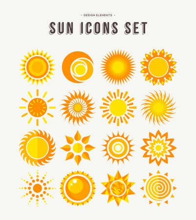 Ilustración de Set of sun icon illustrations, abstract yellow designs in flat art for weather or climate project. EPS10 vector. - Imagen libre de derechos