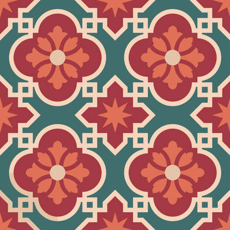 Illustration for Vintage ceramic mosaic floor tile seamless pattern, traditional ornate red floral design. EPS10 vector. - Royalty Free Image