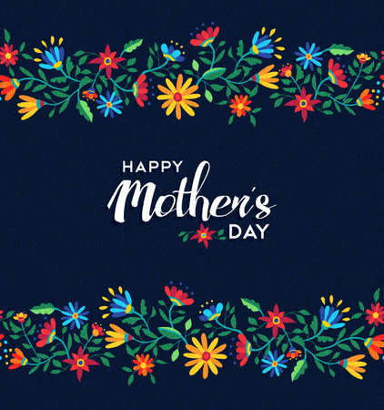 Illustration for Happy mothers day illustration design for celebration event, spring time flower seamless pattern background. EPS10 vector. - Royalty Free Image