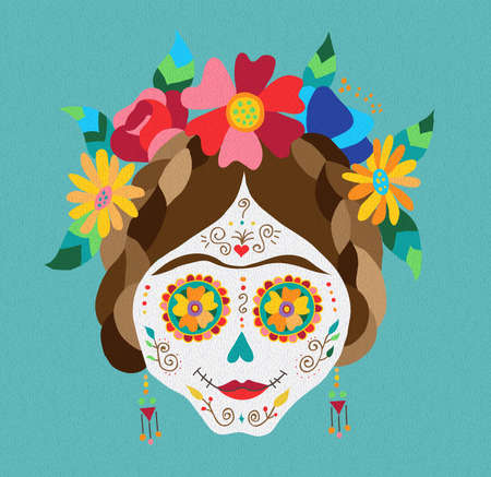 Illustration pour Traditional mexican catrina skull with paint decoration and colorful spring time flower arrangement on hair. EPS10 vector. - image libre de droit