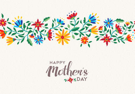 Illustration for Elegant happy mothers day quote design with flower seamless pattern background in cute style and vibrant colors. EPS10 vector. - Royalty Free Image