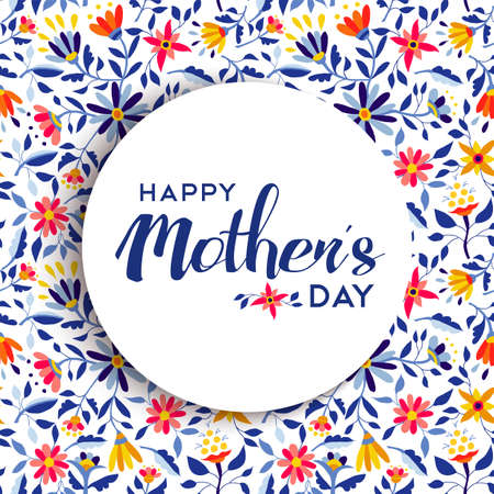 Illustration for Happy mothers day quote badge design over spring flower background, ideal for special event greeting card. EPS10 vector. - Royalty Free Image