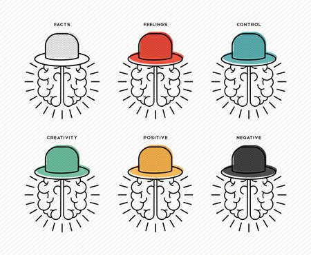 Illustration pour Six thinking hats brainstorming concept design, human brains wearing colorful hat in line art style. - image libre de droit