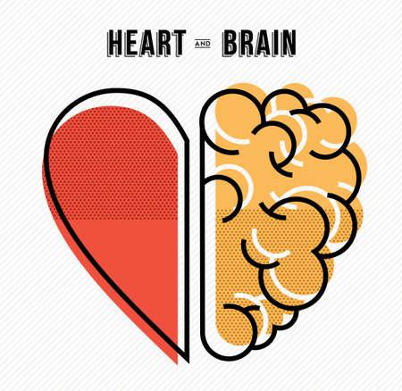 Ilustración de Heart and brain work as team concept design, flat line art modern illustration. - Imagen libre de derechos