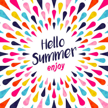 Illustration pour Hello summer lettering background illustration design, enjoy vacation concept with colorful decoration. Summertime party invitation, fun typography greeting card or poster. EPS10 vector. - image libre de droit