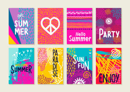 Set of happy summer party invitation greeting cards. Creative hand drawn vacation illustrations and text quotes for label, poster, etc.