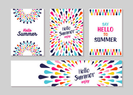 Illustration pour Hello summer lettering label or greeting card set designs, enjoy vacation concept with colorful decoration. Summertime party invitation or fun typography poster. EPS10 vector. - image libre de droit