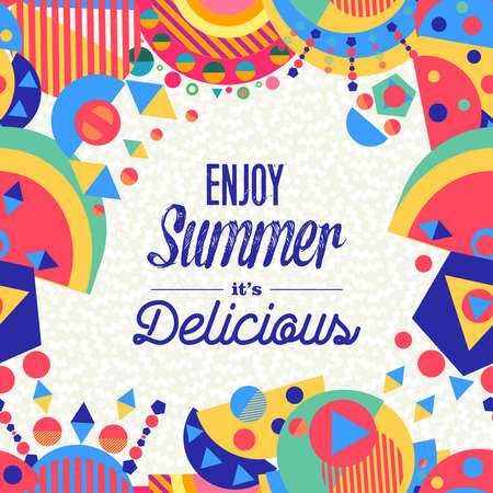 Illustration for Enjoy summer lettering background illustration design, enjoy vacation concept with colorful decoration. Summertime party invitation, fun typography greeting card or poster. EPS10 vector. - Royalty Free Image