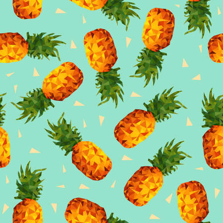 Ilustración de Modern summer seamless pattern, colorful pineapple fruit background in low poly style with geometric triangle shapes vector. - Imagen libre de derechos