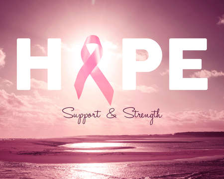 Breast cancer awareness design with hope text quote and ribbon over pink beach landscape background.