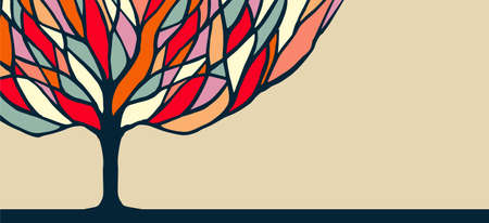 Illustration for Abstract concept tree banner design with colorful branches, diversity nature illustration. vector. - Royalty Free Image