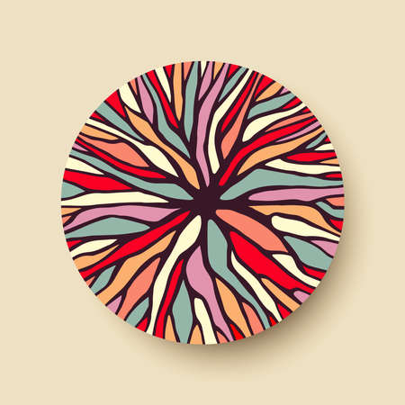 Ilustración de Abstract geometric circle shape with colorful tree branch illustration ideal for creative diversity design. vector. - Imagen libre de derechos
