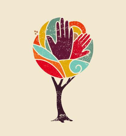 Ilustración de Colorful grunge concept tree art with people hands and nature design for social diversity, environment help. vector. - Imagen libre de derechos
