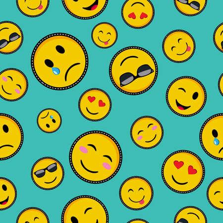 Illustration for Seamless pattern with vibrant color emoji smiley face icons, trendy texting symbols in pop art style vector. - Royalty Free Image