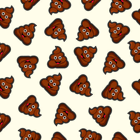 Illustration pour Seamless pattern with happy poop icon, funny illustration background. - image libre de droit