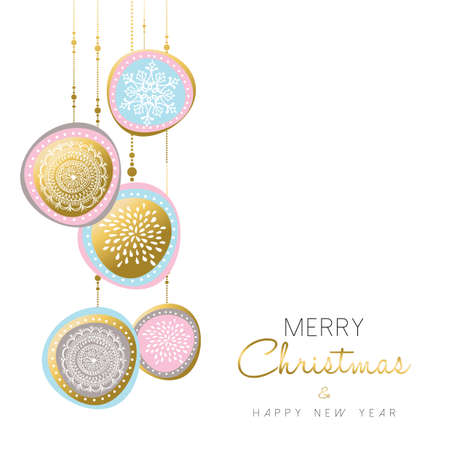Merry Christmas and happy new year gold illustration design with holiday ornament decoration in soft pastel colors. vector.