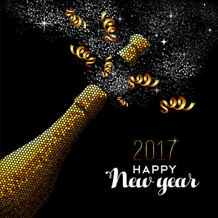 Illustration for Happy new year 2017 gold champagne bottle celebration in mosaic style. Ideal for holiday card or elegant party invitation. vector. - Royalty Free Image