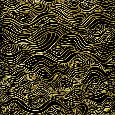 Abstract gold seamless pattern, wave line luxury texture background for christmas season.