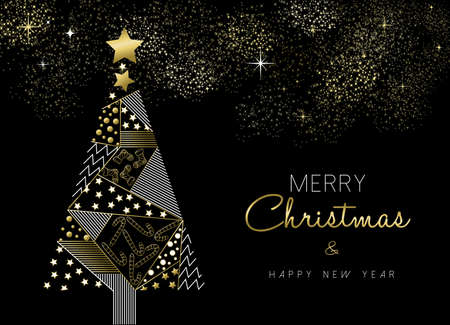 Illustration for Merry Christmas and New Year gold pine tree greeting card design with holiday ornament decoration. - Royalty Free Image