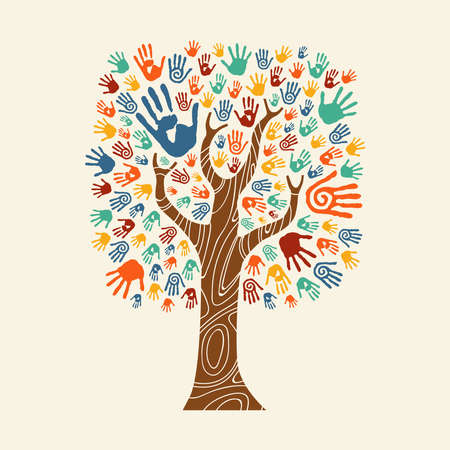 Illustration pour Concept tree made of colorful hand print art. Diverse community concept for social help, teamwork or charity. EPS10 vector. - image libre de droit