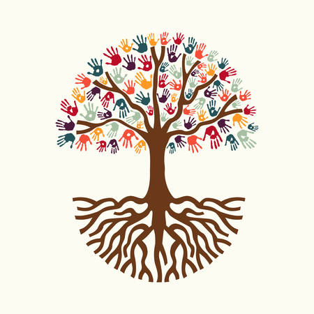Ilustración de Tree hands of colorful diverse community with big roots. Isolated concept illustration for social help concept, charity or group work. EPS10 vector. - Imagen libre de derechos