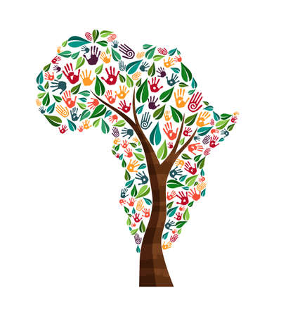 Tree with african continent shape and human hand prints. Africa world help concept illustration for charity work, nature care or social project. EPS10 vector.