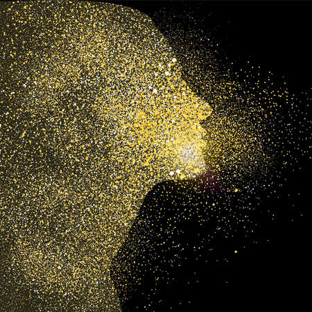 Illustration pour Woman silhouette symbol concept illustration, gold girl profile icon made of realistic golden glitter dust on black background. EPS10 vector. - image libre de droit