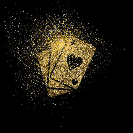 Ilustración de Poker cards symbol concept illustration, gold playing card deck icon made of realistic golden glitter dust on black background. EPS10 vector. - Imagen libre de derechos