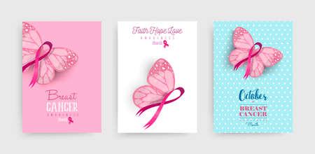 Ilustración de Breast cancer awareness month illustration set with pink hand drawn ribbon butterfly art for support campaign. EPS10 vector. - Imagen libre de derechos